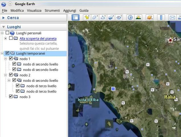 cartelle e sottocartelle in Google Earth