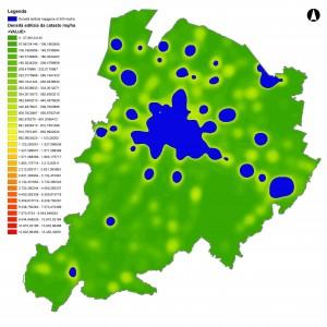 Mappa della densita edilizia con soglia a 500 mq/ha