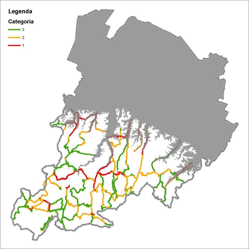 Mappa della rete strategica in Appennino