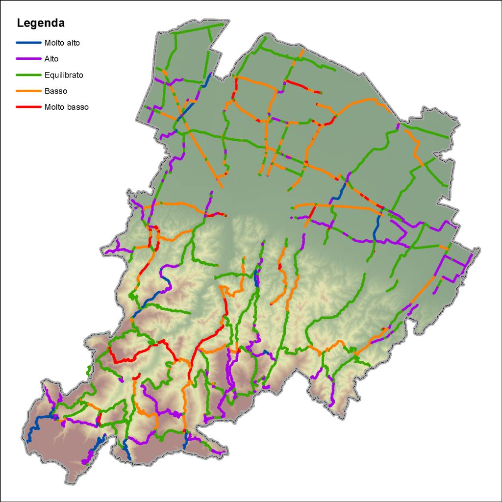 Mappa dell'indice di equilibrio nella pulizia neve