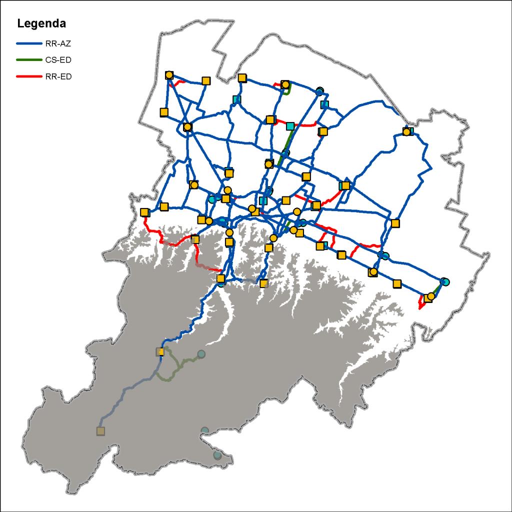 Mappa dei percorsi in pianura