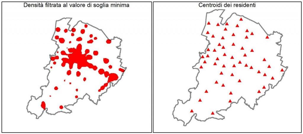 Mappa della densità filtrata - centroidi