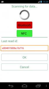 Schermata di scansione tag RFID via NFC oppure bluetooth