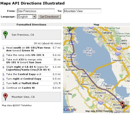 google api directions
